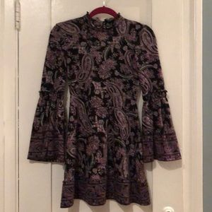 Super cute mini dress with bell sleeves